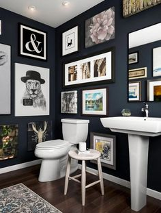 Plan to lock yourself in this bathroom. Paint walls midnight green, forecasted t. - Gallery Wall Bathroom Ideas - Pictures on Wall ideas Bathroom Tile Designs, Diy Bathroom Decor, Bathroom Art, Bathroom Layout, Modern Bathroom Design, Bathroom Interior, Bathroom Ideas, Pictures In Bathroom, Parisian Bathroom