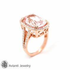 """This Morganite is 10.0 carats, lavished with pave round diamonds set on 14 karat rose gold with beautiful gallery on the sides of the ring and it's split shank has round pave diamonds. Please inquire if you prefer a different gemstone. This ring is from our """"Blushing Rose"""" collection. Morganite Ring, Ring With a halo, Cushion Morganite, Morganite Engagement Ring,Rose Gold Morganite Ring,Blush Pink Stone Ring