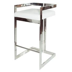 Linear bar stool with nickel and white leather cushion.