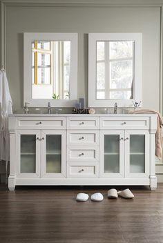 "Weston 72"" Double Vanity w/ Glass Doors, Cottage White w/ Arctic Fall Top"