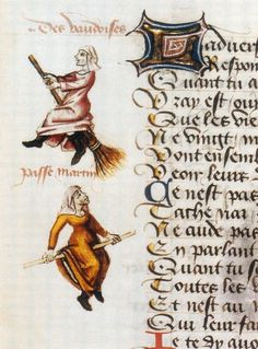 heracliteanfire:  'Marginalia of the earliest known illustrated example of a witch on a broomstick in the 1451 manuscript, Hexenflug der Vau...