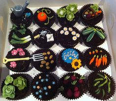 Vegetable Garden Cupcakes  A mixture of Lemon Zest and Rich Chocolate cupcakes,topped with crushed Oreo 'soil' and decorated with handmade edible vegetables, flowers and garden tools via Little_Cakes_UK