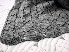 Ravelry: Crochet leafy baby blanket pattern by Turcoaz Cu Vanilie Crochet Baby Blanket Free Pattern, Afghan Crochet Patterns, Free Crochet, Knitting Patterns, Ravelry Crochet, Crochet Blankets, Crochet Afghans, Baby Blankets, Leaf Patterns