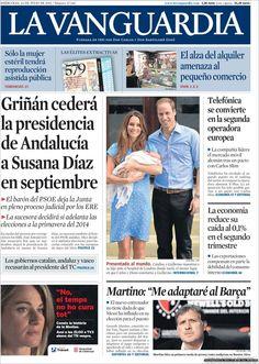 Los Titulares y Portadas de Noticias Destacadas Españolas del 24 de Julio de 2013 del Diario La Vanguardia ¿Que le pareció esta Portada de este Diario Español?