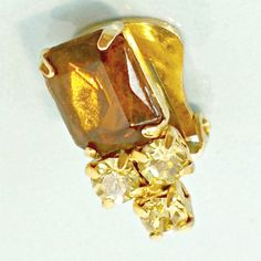 Earrings clip on vintage faux topaz whiskey color citrine rhinestone accents #Unbranded #clip