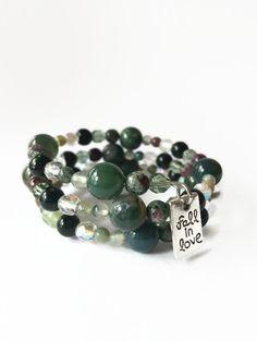 Green Beaded Memory Wire Wrap Bracelet