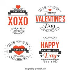 Sentences valentine day pack Free Vector