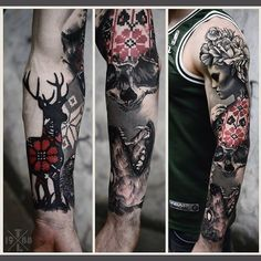 Sleeve in progress. Done at Redberry tattoo studio, Wroclaw city, welcome)