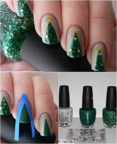 Cool DIY Nail Art Designs and Patterns for Christmas and Holidays - DIY Easy Christmas Trees Nails - Do It Yourself Manicure Ideas With Christmas Trees, Candy Canes, Snowflakes and Glittery Designs for Holiday Nails - Step by Step Tutorials and Instructio Diy Christmas Nail Art, Christmas Tree Nails, Christmas Nail Art Designs, Holiday Nail Art, Xmas Nails, Winter Christmas, Christmas Manicure, Christmas Makeup, Green Christmas
