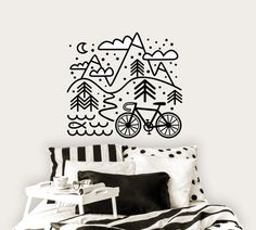 Wall decal Cycling in the mountains Bicycle and by DURIDO on Etsy