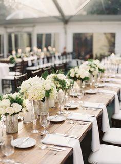 These tables are just so elegant! http://www.stylemepretty.com/florida-weddings/miami-fl/2015/07/30/classic-glamorous-miami-wedding-at-villa-woodbine/ | Photography: Jessica Lorren - http://www.jessicalorren.com/