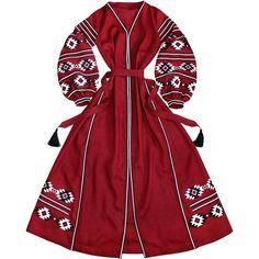 Burgundy embroidered ethnic dress - ukrainian folk vyshyvanka with ancient geometric pattern - natural linen - kaftan abaya robe Ethnic Dress, Boho Dress, Kurta Designs, Mehndi Designs, Burgundy Dress, Kaftan, Boho Fashion, Lolita Fashion, Casual Looks
