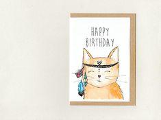 HAPPY BIRTHDAY . greeting card . mini print . custom - goodbye get well i miss you thanks . meditating boho cat . crazy cat lady . australia