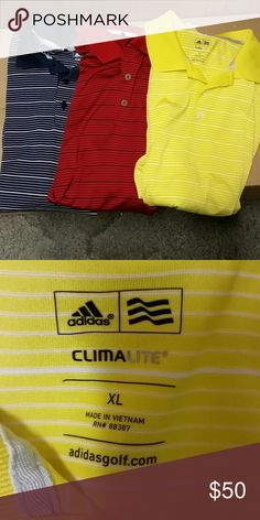 All 3 Men's Adidas Climalite golf shirts XL Like new  1 red 1 blue 1 yellow All 3 Size XL Adidas Shirts
