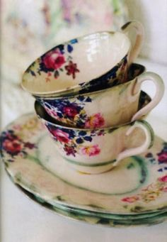 beautiful colors /vintage tea cups!  Come out to Jeffrey's Antique Gallery in Findlay, Ohio and we'll help you find some great vintage finds! www.jeffreysantiquegallery.com