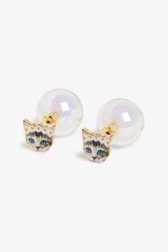 Monki Cat face earrings in Gold