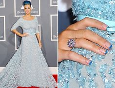 Katy Perry's blue-tipped french mani at the Grammy's. So much love.