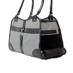 Houndstooth Print Tote Pet Dog Cat Carrier/Tote Purse Travel Airline Bag -Black-Medium - http://www.thepuppy.org/houndstooth-print-tote-pet-dog-cat-carriertote-purse-travel-airline-bag-black-medium/