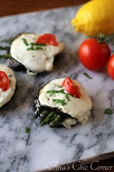 Eggplant and Asparagus Napoleons (awesome vegetarian appetizer) - www.tinaschic.com