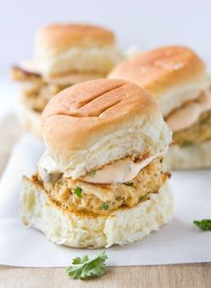 Crab Cake Sliders with Spicy Aioli Sauce // Wow these were so good!! We didn't use buns, but I don't think they needed them. The crab cakes themselves were delicious and perfectly browned. The spicy aioli sauce was AWESOME. So simple, but awesome.