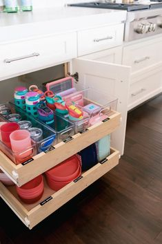 Our Home : The Kids Cabinet - Mika Perry - cabinet organization Home Organisation, Kitchen Cabinet Organization, Organization Hacks, Kitchen Storage, Kitchen Drawers, Bedroom Organization, Kitchen Cabinets, Cabinet Ideas, Baby Bottle Organization