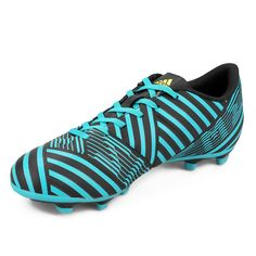 Botines Adidas Nemeziz 17.4 FXG Suelo Firme - Celeste+Negro Adidas Nemeziz, Cleats, Sports, Fashion, Adidas High Tops, Black, Zapatos, Football Boots, Hs Sports