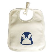 Soft, thick 100% organic cotton baby bib with adjustable ties, printed by hand with a chilly penguin, using blue and purple solvent-free print paste.This penguin bib would make a lovely gift or Christening present to give to new parents. All my designs start off as scribbles in my sketchbook, I aim to make each one original, full of personality and gender-neutral. This smart young character was inspired by baby emperor penguins' cute little faces! Manufactured using renewable green energy…