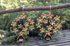 Sterling 925 silver smoky quartz flower earrings Flower Earrings, Drop Earrings, Smoky Quartz, 925 Silver, Jewellery, Flowers, Jewels, Schmuck, Drop Earring