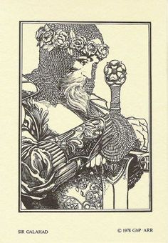 Sir Galahad 1978 Excalibur Portfolio Art Illustration by Barry Windsor-Smith Art And Illustration, Illustrations, Fantasy Kunst, Fantasy Art, Comic Books Art, Comic Art, Roi Arthur, King Arthur, Rose Croix