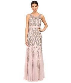 Adrianna Papell Sleeveless Illusion Yoke Gown with Godets | Zappos.Com