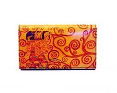 Ručne maľovaná kožená peňaženka inšpirovaná motívom Gustav Klimt Gustav Klimt