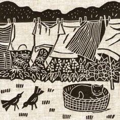 Print - Siesta - Gail Kelly - cat - washing line Linocut Prints, Art Prints, Block Prints, Linoprint, Guache, Arte Pop, Woodblock Print, Cat Art, Printmaking