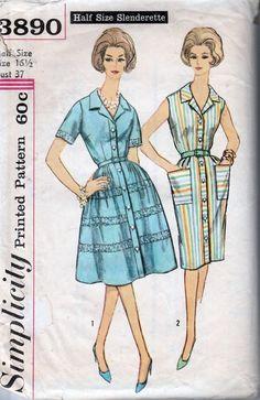 simplicity 3890 ladies dress vintage 1960's pattern