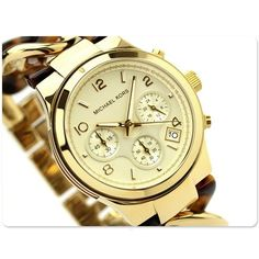 No word and just BUY it now! ^.^ --> Michael Kors Women's Watch Tortoise & Gold CHAIN Runway Chrono W/Box MK4222 #MichaelKors #Dress #Luxury #Wish list $159.77