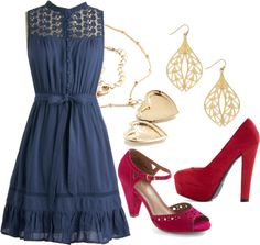 """""""Mount San Jacinto Dress in Blue"""" by modcloth ❤ liked on Polyvore"""