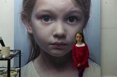 by Gottfried Helnwein (Ireland) Acrylic & oil on Canvas .