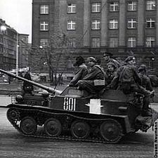 Soviet paratroopers on a light tank head towards Prague Castle, seat of the Czechoslovak government during the Soviet invasion of Prague in the early morning hours of August 1968 World Of Tanks, Marie Curie, Mahatma Gandhi, Steve Jobs, Prague Spring, Einstein, Great Society, Warsaw Pact, Visit Prague