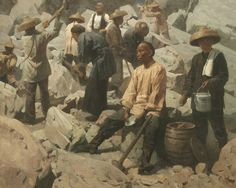 Artist: Mian Situ - Title: A Short Respite, Central Pacific Railroad, Sierra Nevada 1867