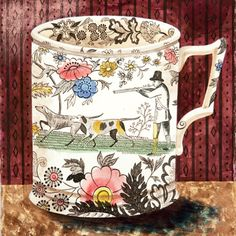 illustration UK : Emily Sutton, aquarelle inspirée par sa collection de vaisselle Victorienne, et à son mari Mark Hearld, à York.