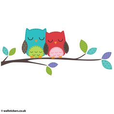 Two Owls on a Branch Wall Sticker