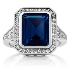 5.00 Ct Vintage Womens 925 Sterling Silver Octagon Cut Simulated Sapphire Ring