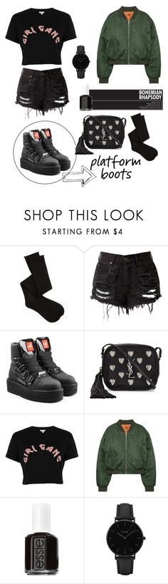 """Star Part: Platform Boots🌟"" by stylebyceylin ❤ liked on Polyvore featuring Charlotte Russe, Puma, Yves Saint Laurent, River Island, Essie and CLUSE"