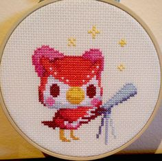 Animal Crossing framed Celeste cross stitch by longostitch Embroidery Art, Cross Stitch Embroidery, Embroidery Patterns, Cross Stitch Designs, Cross Stitch Patterns, Pixel Art, Animal Crossing Qr, Fan Art, Cross Stitching