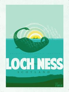 Posters to Entice Your Crypto-Zoological Tendencies Scotland. Vintage travel poster for Loch Ness. Vintage travel poster for Loch Ness. Glasgow, Loch Ness Scotland, Inverness Scotland, Party Vintage, Vintage Ideas, Vintage Art, Vintage Cupcake, Vintage Stuff, Travel Theme Nursery