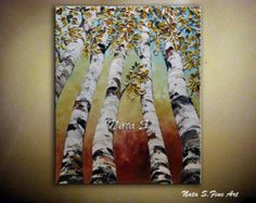 Peinture, abstrait, Art texturé, automne feuilles des bouleaux, une oeuvre originale, couteau à Palette, l'Art coloré, forêt peinture par Nata S.