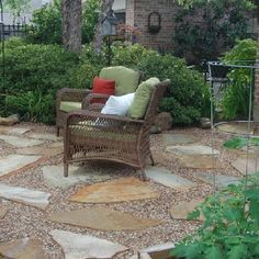 Flagstone and Pea Gravel Patio Patio Addition Patios Patio Diy, Budget Patio, Pergola Patio, Backyard Patio, Backyard Landscaping, Patio Ideas, Landscaping Ideas, Backyard Ideas, Patio Seating