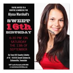 Sweet 16  Birthday Party Mod Black and Red Invites