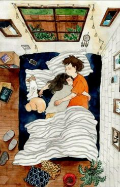 Image about love in Art / Drawing / Cartoon / Anime by AtaDeniz✅ Art And Illustration, Couple Drawings, Art Drawings, Drawings About Love, Drawing Sketches, Cute Couple Art, Kawaii, Couple Cartoon, Cute Love