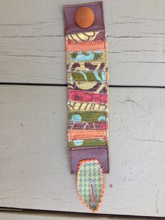 fabric collage textile art hippie boho cuff by SewUnruly on Etsy