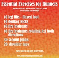 Essential Exercises for Runners - great for runners with weak hips...so perfect for me!!! :o)